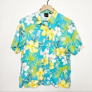 Vintage Blue Hawaiian Floral Button Down Shirt